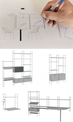 Wire shelving system with wooden shelves Link