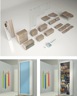 Modular bookcase space-saving shoe rack