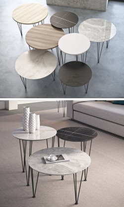 Coffee and side tables with stoneware top