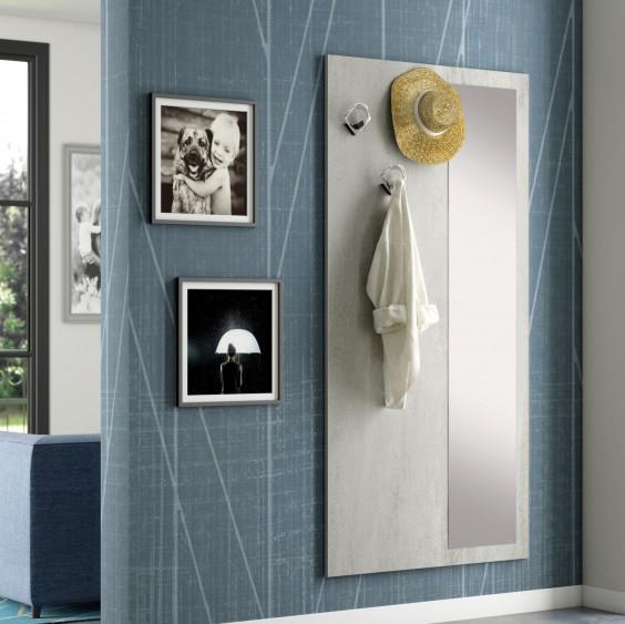 Appendiabiti a parete con specchio dotato di 3 ganci attaccapanni e specchiera