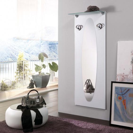 Attaccapanni a muro con specchio, per ingressi piccoli, corridoi o per una parete dietro alla porta