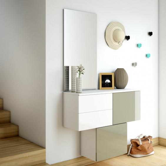 Mobile ingresso componibile con cubi scarpiera, cassettiera, specchio e appendiabiti - vetro moka e bianco