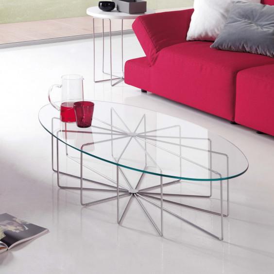 Tavolino in cristallo ovale silver glass for Tavolini cristallo