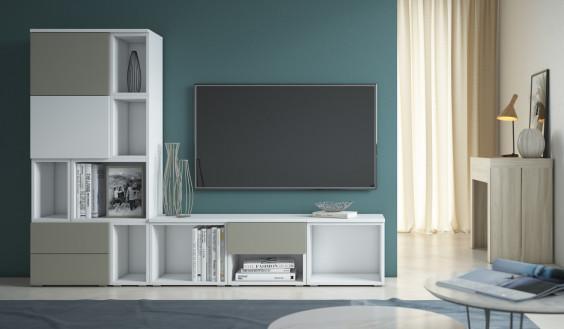 Mobile porta tv sospeso componibile da 150 cm con mensole per libri, cd e dvd - cemento e bianco