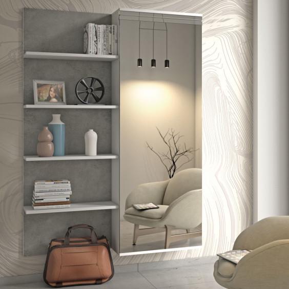 Mobile ingresso con armadio a 1 anta scorrevole a specchio e pannello con mensole