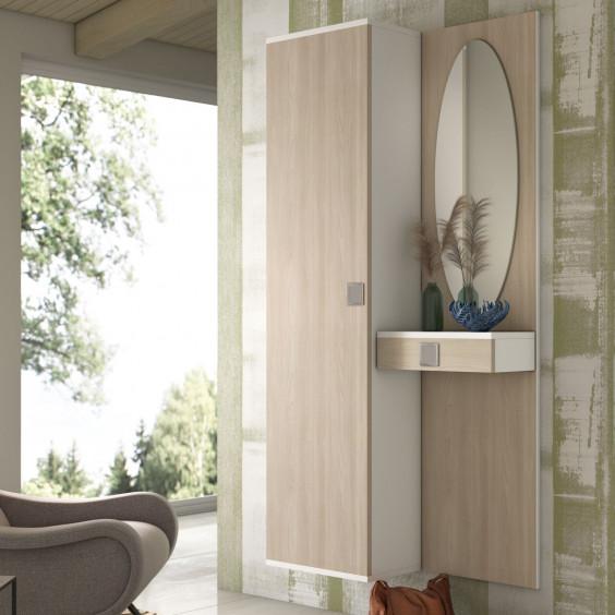 Mobile ingresso con guardaroba a 1 anta e pannello con specchio e cassetto