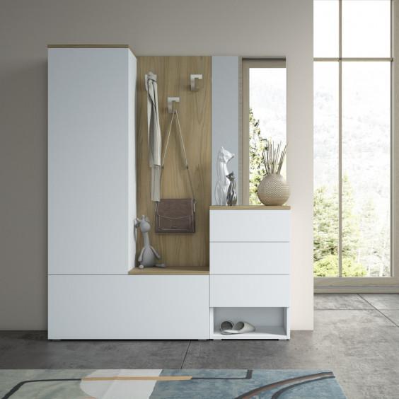 Mobile ingresso con guardaroba chiuso, scarpiera, appendiabiti, cassetti e specchio - finitura bianco e noce canaletto