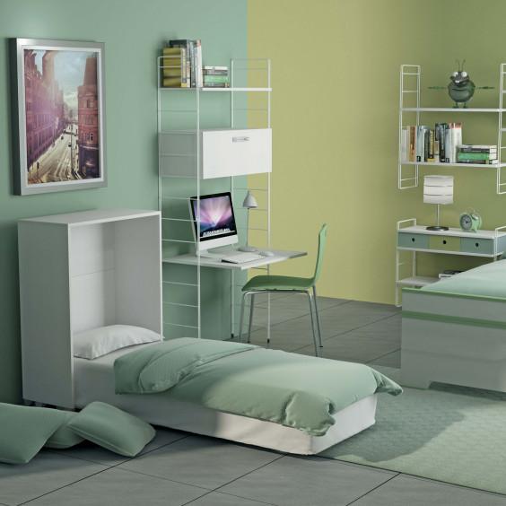 Link Letto è un letto singolo a scomparsa con doghe in legno e materasso inclusi.