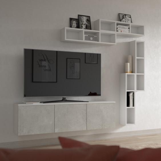Mobile porta tv sospeso componibile da 150 cm con mensole per libri, cd e dvd