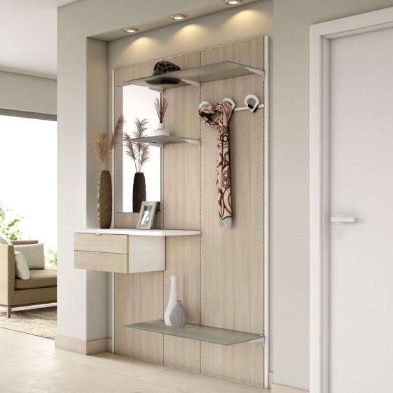 Pannello per ingresso attrezzato con cassetti, mensole, specchio e appendiabiti