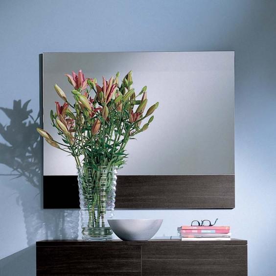 Specchio moderno rettangolare Family Rettangolare con cornice inferiore in rovere moro