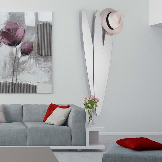 Appendiabiti a specchio decorativo dalla particolare forma a petali