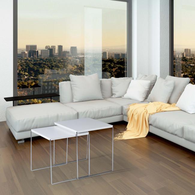 Coppia di tavolini moderni new line double for Tavolini trasparenti da salotto