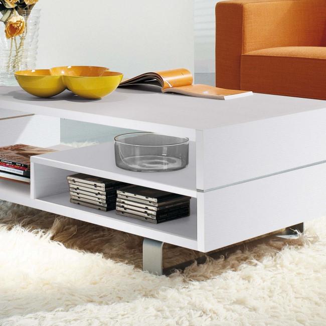 Tavolino da salotto rettangolare bianco oxford for Salotto bianco