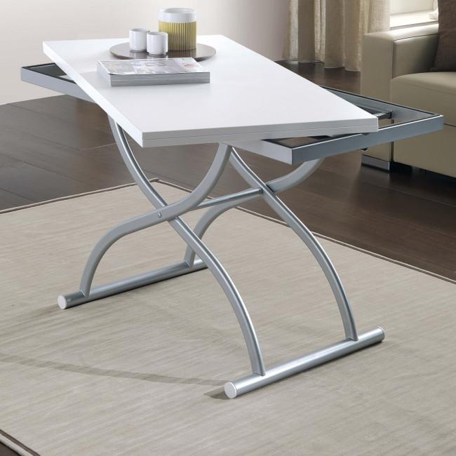 Tavolino trasformabile in tavolo quadrato co ala for Tavolini piccoli da cucina