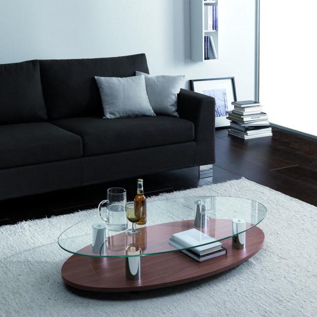 Tavolino da salotto in legno e vetro Sun
