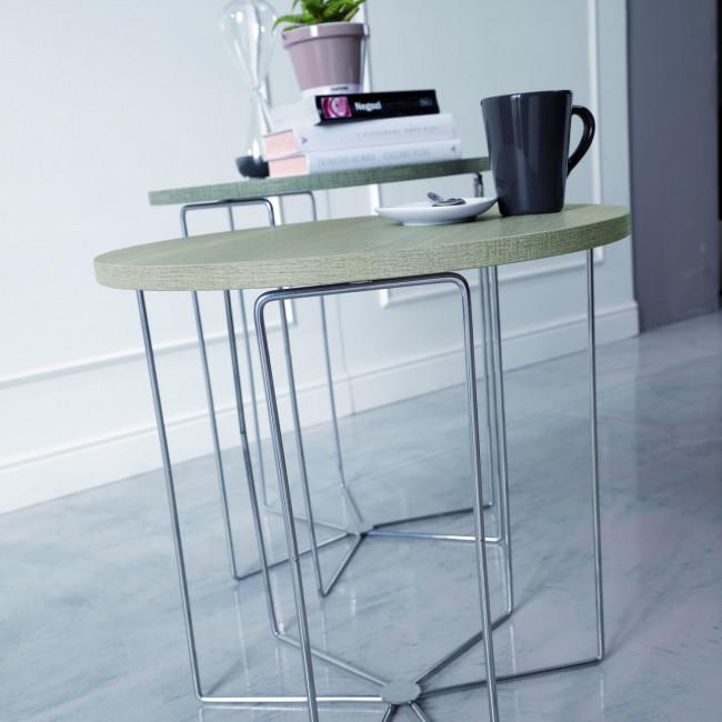 Tavolino rotondo lato divano silver wood for Tavolini da salotto rotondi