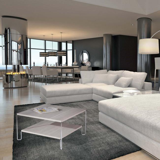 Tavolino quadrato con due ripiani new line for Arredo salotto design