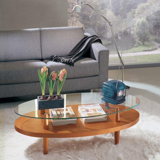 Tavolino da salotto ovale uovo wood - Tavolino salotto cristallo ...