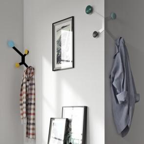 Appendiabiti da parete angolare bianco o nero con 4 pomelli attaccapanni colorati