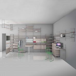 Link Free è una libreria componibile in metallo con ripiani e accessori in legno in varie finiture.