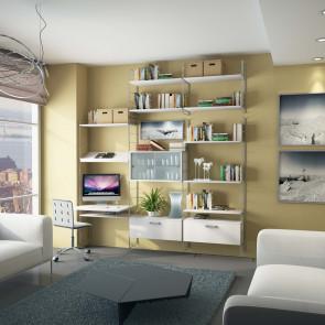 Composizione A: libreria componibile a muro con fissaggio a parete, completa di contenitori e scrittoio.