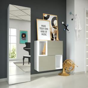 Mobile da ingresso con guardaroba sospeso chiuso, scarpiere, cassetto e specchio - finitura olmo chiaro