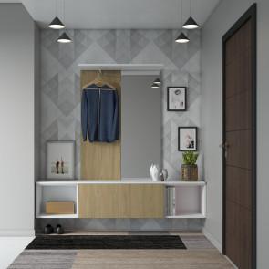 Mobile ingresso sospeso in legno moderno - finitura bianco e noce canaletto