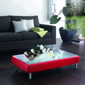 Tavolino contenitore Soft con piano in vetro sollevabile e contenitore per libiri, riviste, oggetti decorativi.