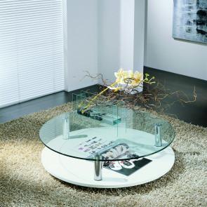 Tavolino rotondo con piano in cristallo Sun.