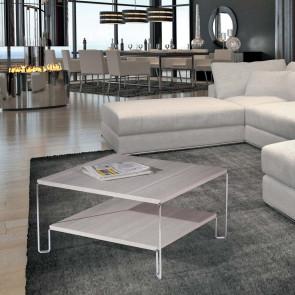 Tavolino quadrato a due ripiani con gambe sottili in metallo