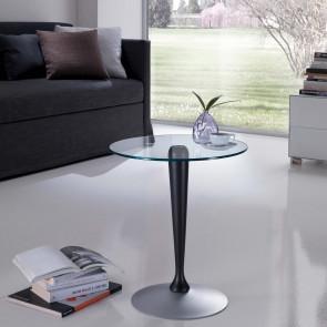Tavolino servitore con piano in cristallo trasparente rotondo e gamba centrale in legno.