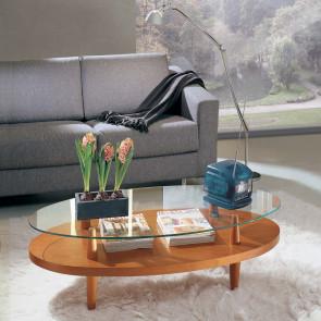 Tavolino da salotto in ciliegio con doppio piano d'appoggio. Piano superiore sempre in cristallo.