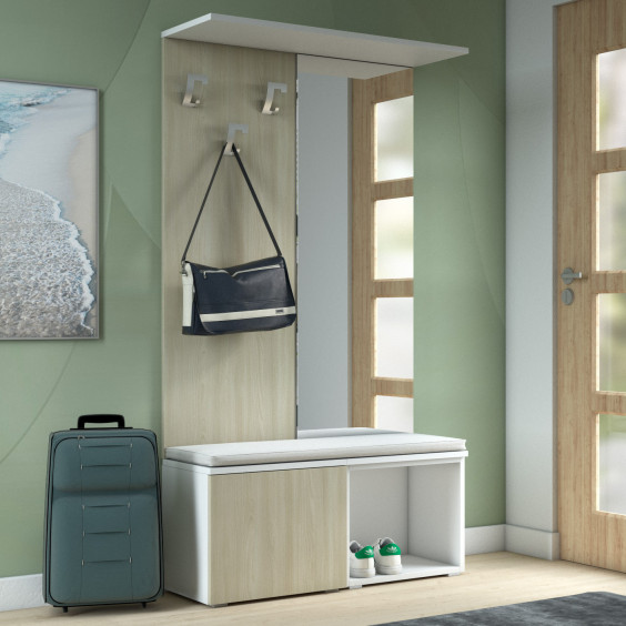 Hall tree with bench and shoe storage, a convenient mirror and an upper shelf