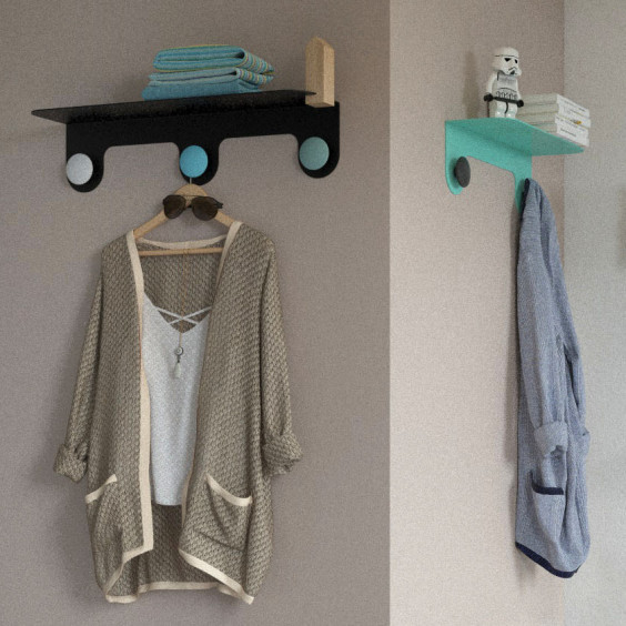 Modern metal wall mounted coat rack with shelf and 2 or 3 round hooks
