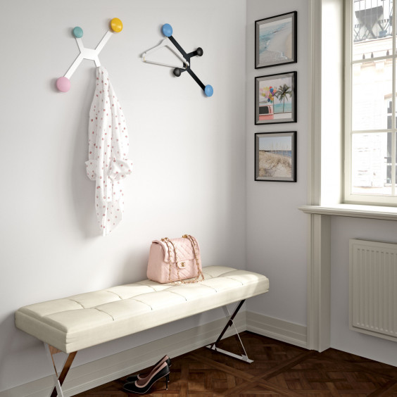 4 hook wall coat rack with white or black structure, matching or multi coloured round hooks