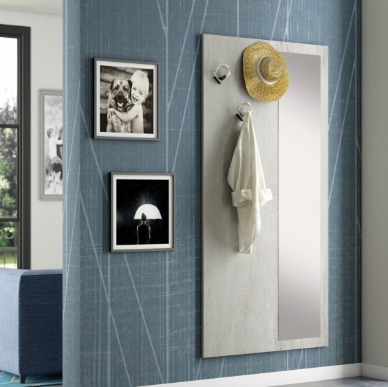 Wall mounted coat rack panel with full length mirror