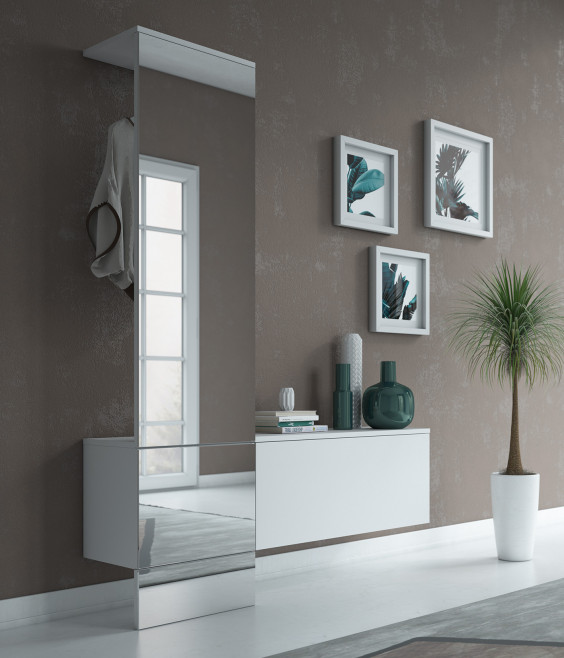 Modern coat stand with floating storage for contemporary entryways