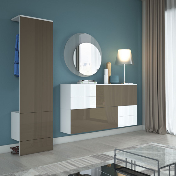Glass hallway unit with coat stand and storage space for shoes and bags