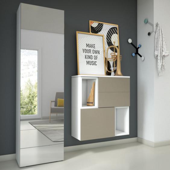 Modern 1 door coat wardrobe with mirror w.50 d.35 h.140 cm