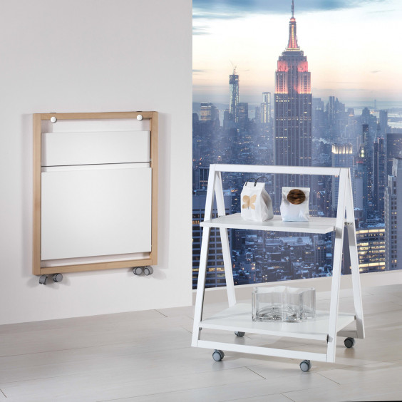 Trolley is a folding serving trolley with castors.