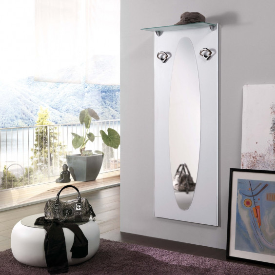 Family F01 hallway white coat rack with two hooks, a large mirror and a classy frosted glass shelf.