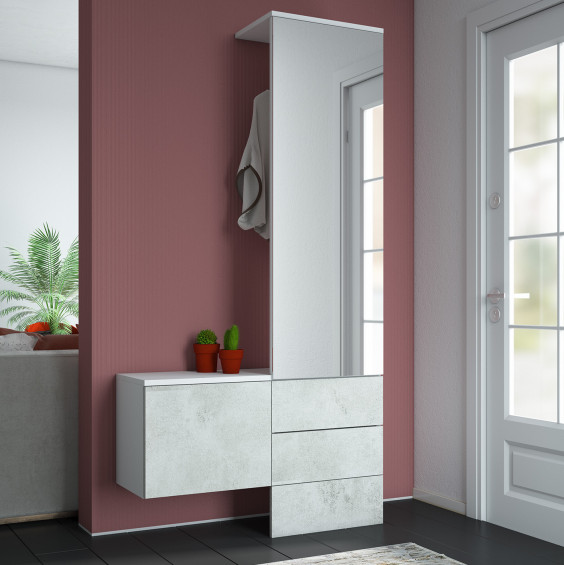 Modern wall mounted coat rack with mirror and small shoe cabinet