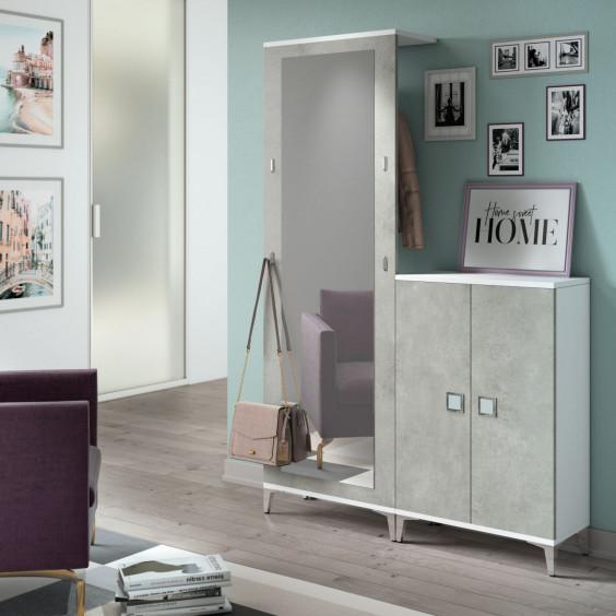 Hallway coat rack panel and shoe cupboard