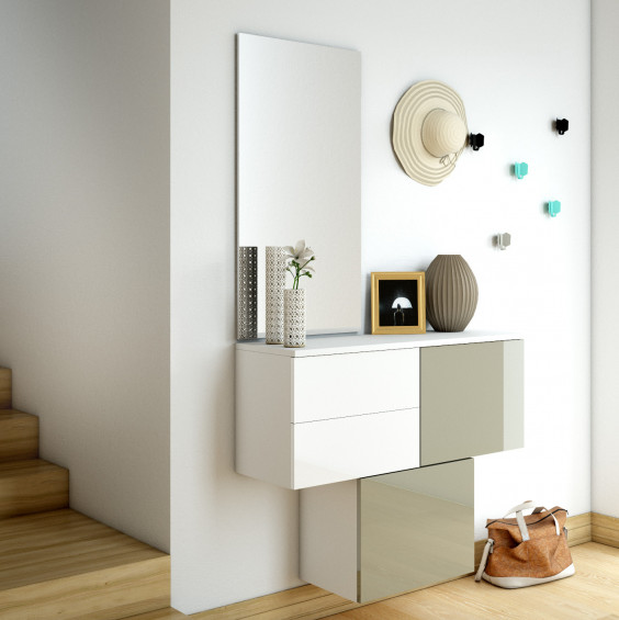 Set of hallway floating cube storage with doors and drawers, mirror and coat hooks