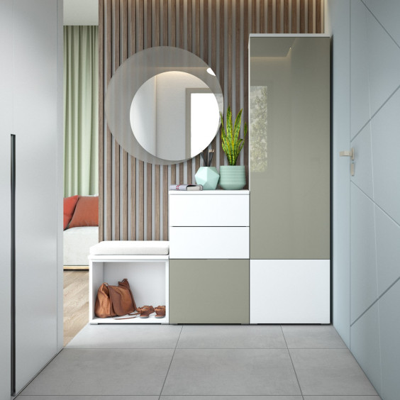 Entrance with storage and containers completed with wall round mirror Family Cristallo