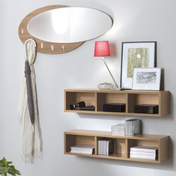 Evolution Wood oval mirror with hooks, frame in canaletto walnut melamine coated wood