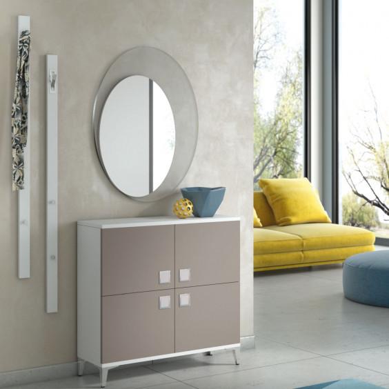 Hallway set with 4 door low cabinet, 2 vertical coat racks and mirror