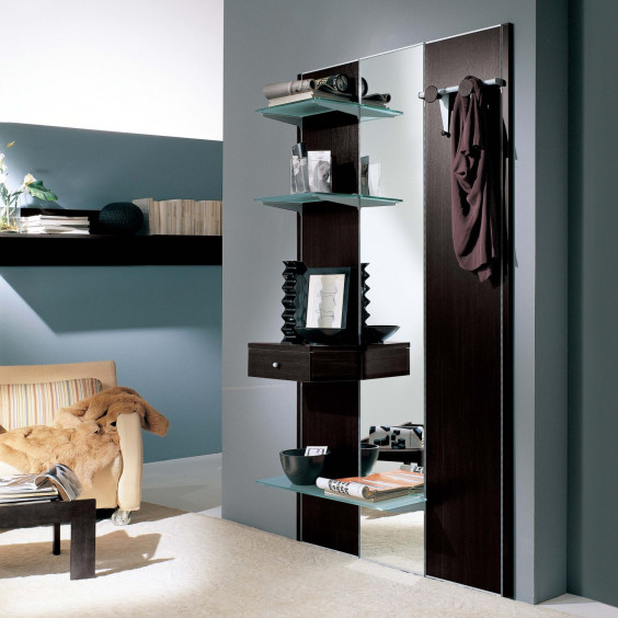 Astor A03 hall furniture with glass shelves, also equipped with coat rack and drawer.