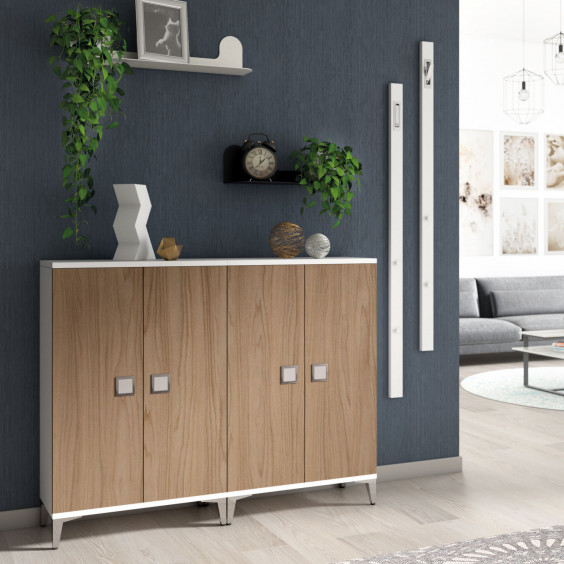 Hallway set with 2 shoe cabinets, vertical wall mounted coat rack and shelves